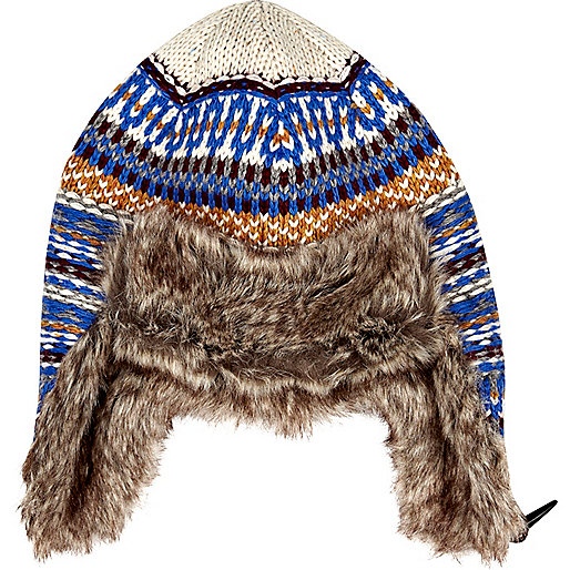 Blue fairisle faux fur lined trapper hat