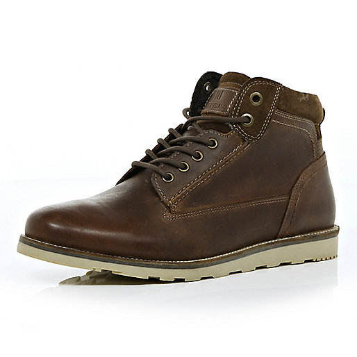 Brown low worker boots