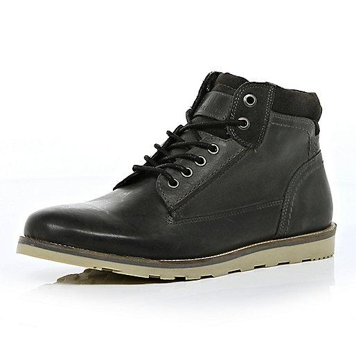 Dark grey low worker boots