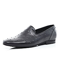 Black studded formal slipper shoes