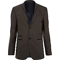 Grey contrast trim skinny suit jacket