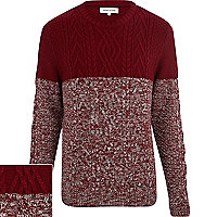 Red cable knit colour block jumper