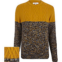 Mustard cable knit colour block jumper
