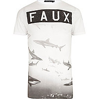 White Friend or Faux shark print t-shirt