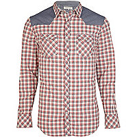 Red gingham denim shoulder patch shirt