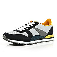 White colour block streamline trainers