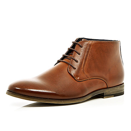 Light brown lace up formal boots