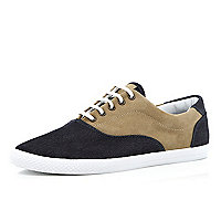 Blue denim and tan colour block plimsolls
