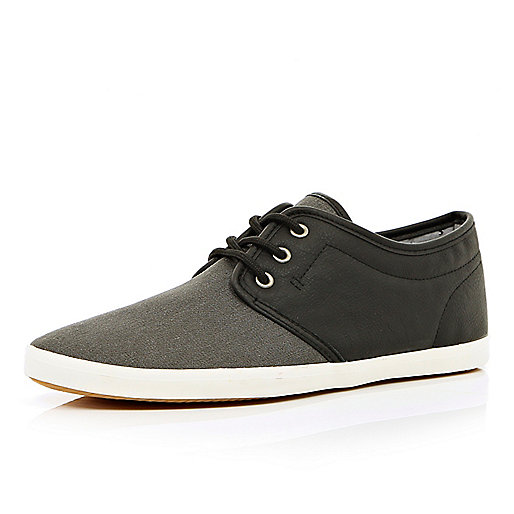 Black two-tone lace up trainers