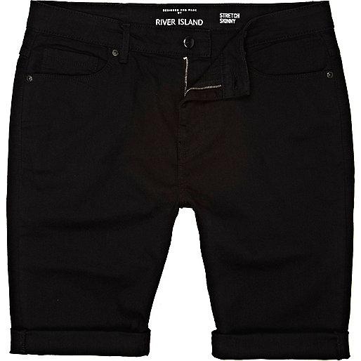 Black skinny stretch shorts