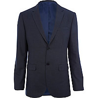 Dark blue tailored fit suit jacket