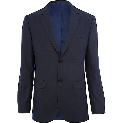 Dark blue classic fit suit jacket
