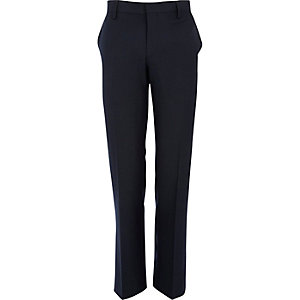 Dark blue tailored suit trousers