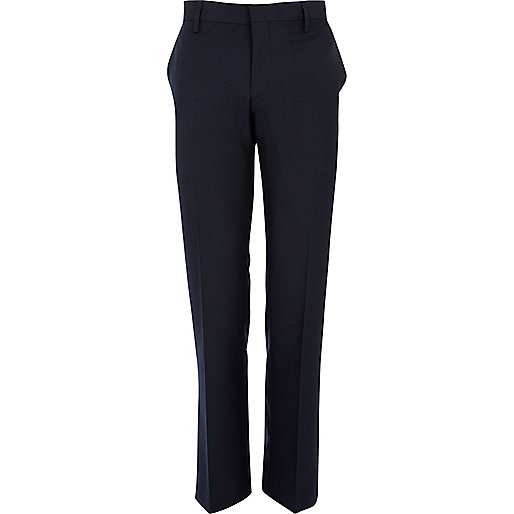 Dark blue classic fit suit trousers