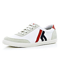 White colour block lace up plimsolls
