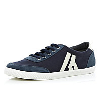 Navy colour block lace up plimsolls