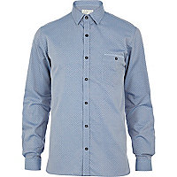 Blue Jack & Jones Premium ditsy print shirt