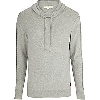 Light grey cowl neck cable sleeve jumper
