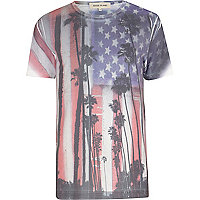 White American flag palm tree print t-shirt