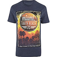 Navy Miami South Beach print t-shirt