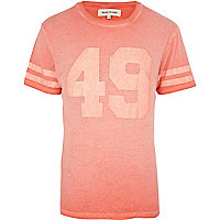 Bright orange washed varsity print t-shirt