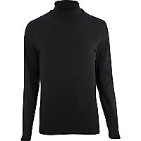 Black roll neck long sleeve t-shirt