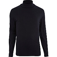 Navy roll neck long sleeve t-shirt