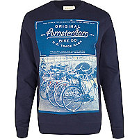 Navy Amsterdam photo print sweatshirt
