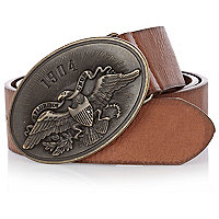 Light brown eagle plate belt