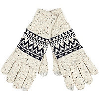 Ecru neppy fairisle gloves