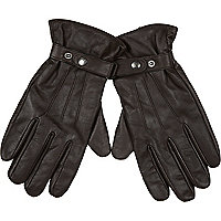 Brown leather RI popper touch screen gloves