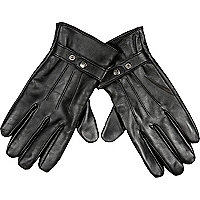 Black leather RI popper touch screen gloves