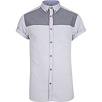 Pale blue chambray yoke short sleeve shirt