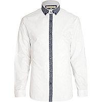White contrast print placket shirt