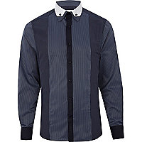 Navy stripe panelled long sleeve shirt