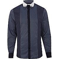 Navy stripe panelled long sleeve shirt