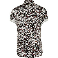 Brown leopard print roll sleeve shirt
