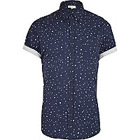 Navy moon print short sleeve shirt
