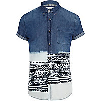 Mid wash dip dye aztec stripe denim shirt