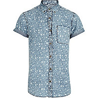 Light wash swallow print denim shirt