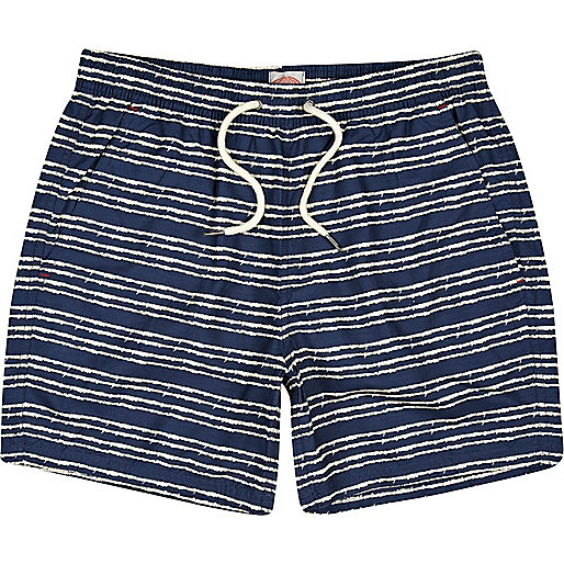Blue skeleton stripe short swim shorts