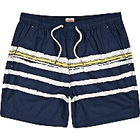 Navy irregular breton stripe swim shorts