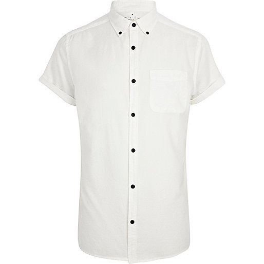 White contrast button Oxford shirt