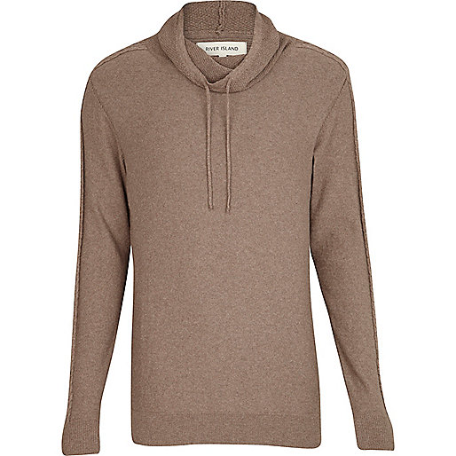 Light brown cowl neck cable sleeve jumper