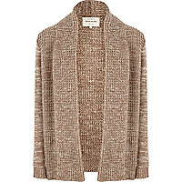 Brown unfastened chunky knit cardigan