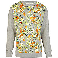 Grey Bellfield tropical print sweatshirt