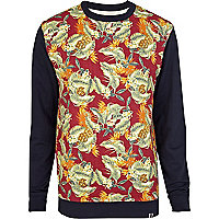 Navy Bellfield tropical print sweatshirt