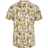 Ecru Bellfield tropical print shirt