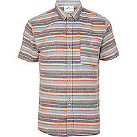 Blue Bellfield horizontal stripe shirt