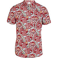 Red Bellfield tribal print short sleeve shirt